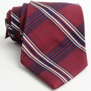 Brooks Brothers Red Blue Silver Plaid Silk Tie